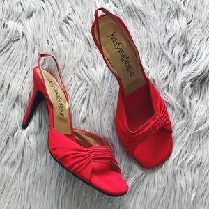 YSL Vintage Red Slingback Heels - Size 7